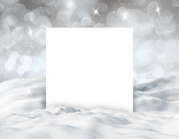Fondo de paisaje nevado de invierno 3d con tarjeta blanca en blanco Foto gratis