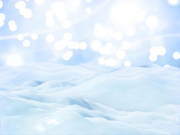 Fondo de paisaje de nieve de navidad 3d Foto gratis