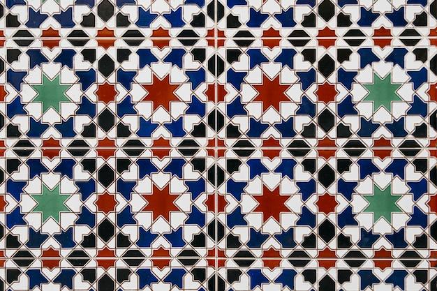 Fondo de pared de azulejos de mosaico marroquí agradable Foto gratis
