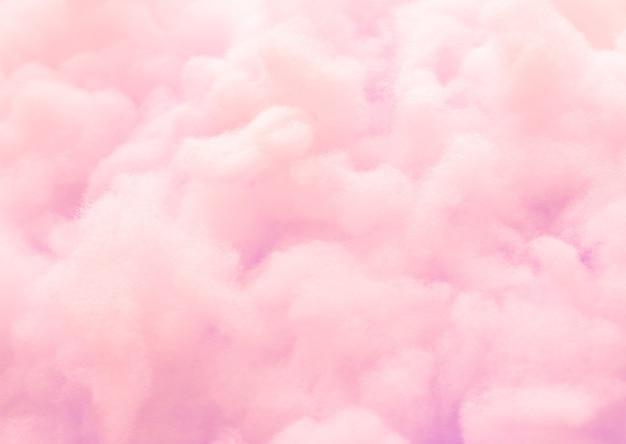 Fondo rosado colorido del caramelo de algodón mullido, hilo suave dulce del dulce del color, blurre abstracto Foto Premium