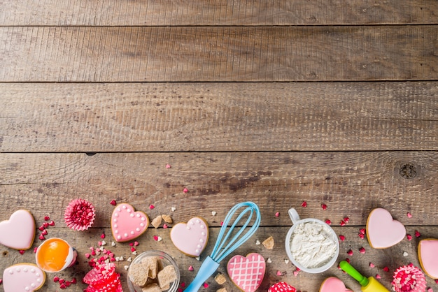 Fondo de san valentín para hornear Foto Premium