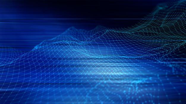 Fondo techno abstracto en 3d con puntos y líneas de conexión Foto gratis