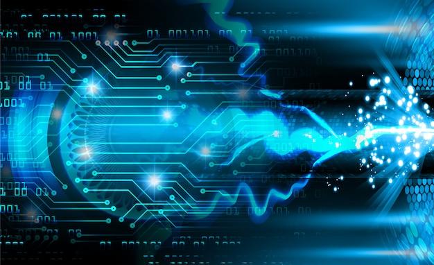 Fondo de tecnología de futuro circuito azul cibernético Foto Premium