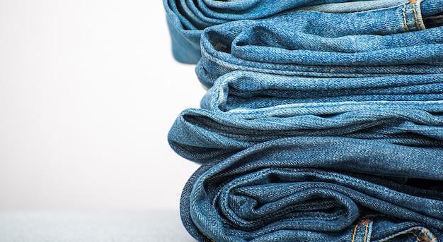 Fondo de textura de mezclilla de blue jeans Foto Premium