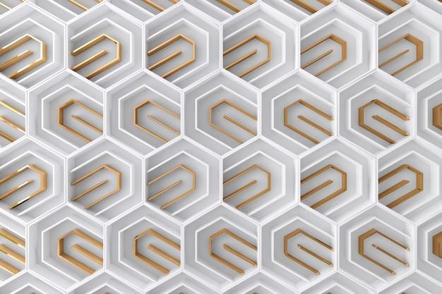Fondo tridimensional blanco y dorado Foto Premium
