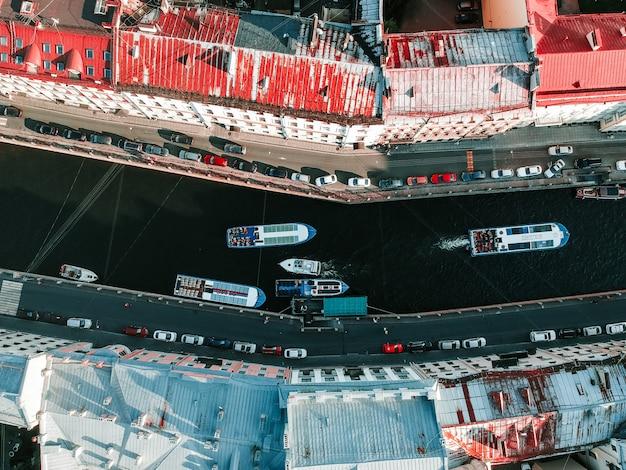 Foto aérea del centro de san petersburgo, Foto Premium