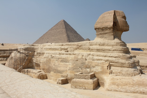 Foto de una esfinge histórica en medio de un paisaje típico egipcio bajo el cielo despejado Foto gratis