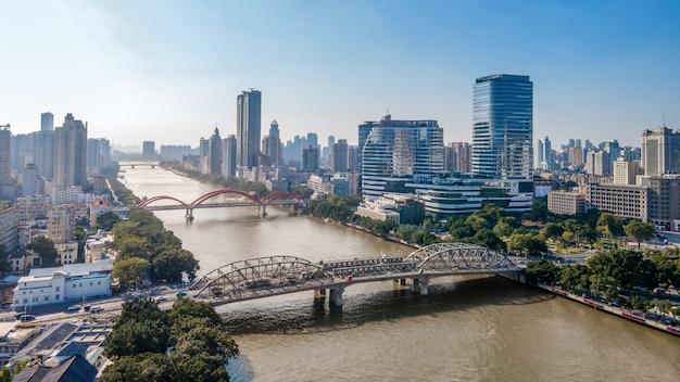 Fotografía aérea china ciudad moderna arquitectura paisaje horizonte Foto Premium