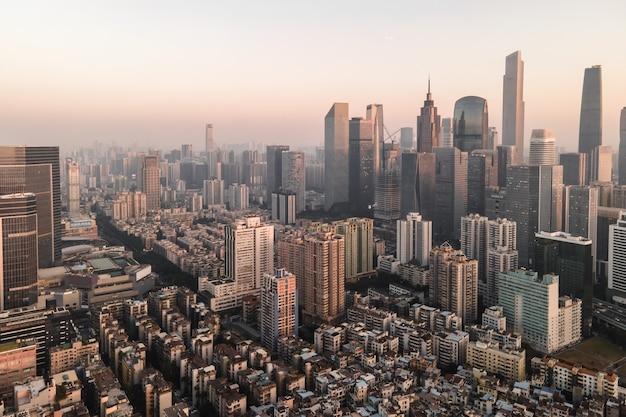 Fotografía aérea del paisaje arquitectónico de las ciudades chinas modernas Foto Premium