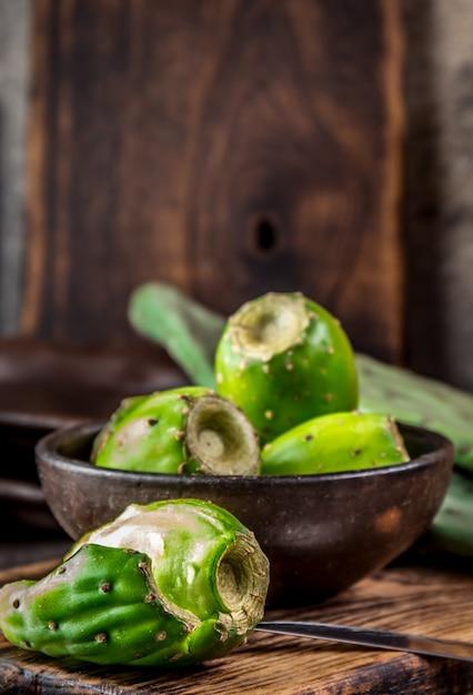 Fruto de atún, nopal, nopal. Foto Premium