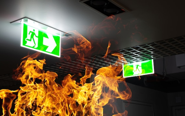 Fuego caliente y letrero verde de escape de incendios cuelgan en el techo de la oficina por la noche Foto Premium