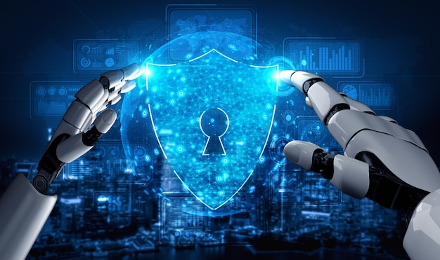 Futuro robot de inteligencia artificial y cyborg. Foto Premium