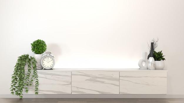Gabinete de granito en moderna habitación vacía zen, diseños minimalistas. representación 3d Foto Premium