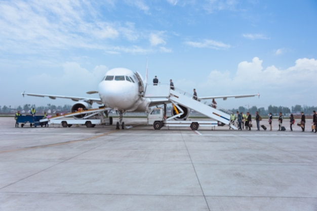 Gente, embarque, avión, pista Foto gratis