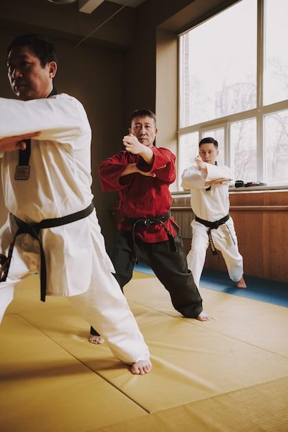 La gente entrena ataques en la sala de combate en karate. Foto Premium