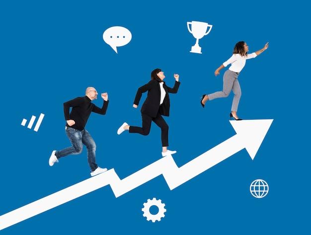 Gente de negocios apresurada hacia el éxito Foto Premium