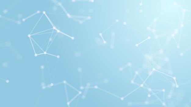Geometría blanca abstracta 3d volando red de estructura metálica y punto de conexión Foto Premium