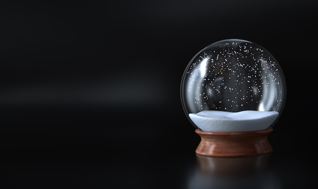Globo de nieve vacío navidad cubierto de nieve y fondo oscuro Foto Premium