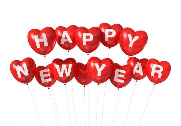 Globos rojos en forma de corazón feliz año nuevo Foto Premium