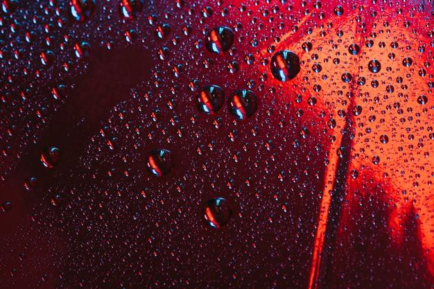 Gotas de agua sobre el vidrio reflectante rojo Foto gratis