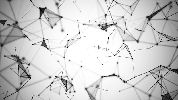 Gráfico abstracto compuesto por puntos, líneas y conexión, tecnología de internet. Foto Premium