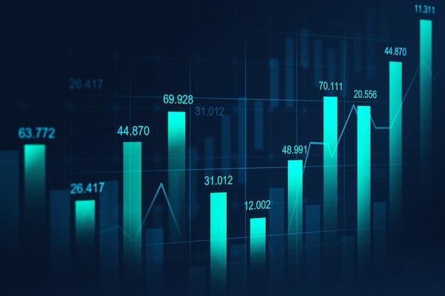 Gráfico bursátil o de compraventa de divisas Foto Premium