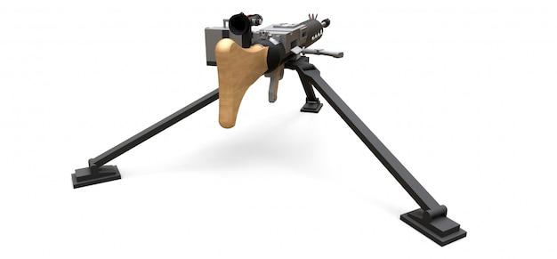 Gran ametralladora en un trípode con una munición de cassette completo sobre un fondo blanco. ilustración 3d Foto Premium