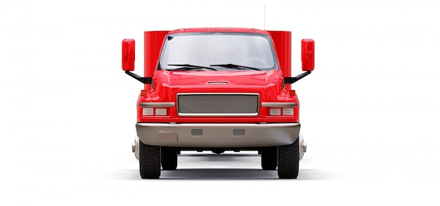 Gran camión rojo con un remolque para transportar un barco de carreras sobre un fondo blanco. representación 3d Foto Premium