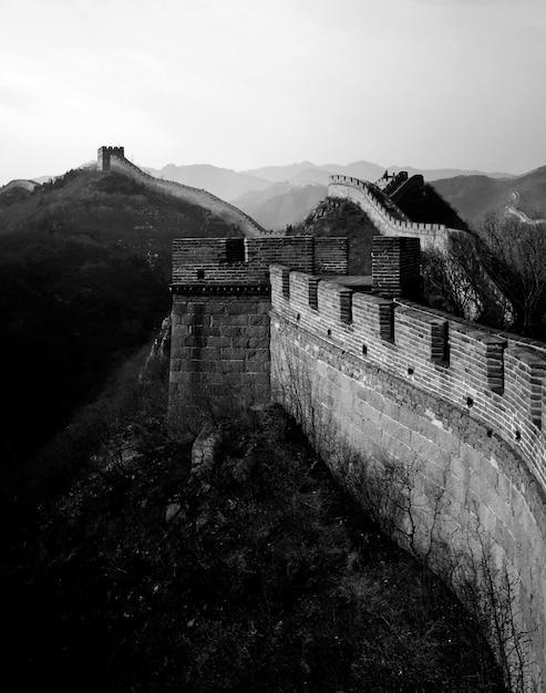 La gran muralla de china al amanecer, badaling, cerca de pekín. Foto gratis