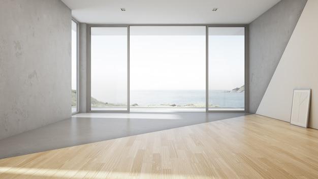 piso de concreto sala de estar Gran Sala De Estar Con Vista Al Mar De La Lujosa Casa De