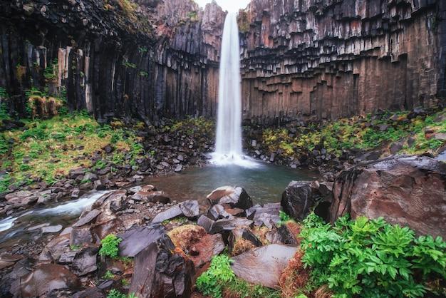 Gran vista de la cascada svartifoss. escena dramática y pintoresca. atracción turística popular. islandia Foto Premium