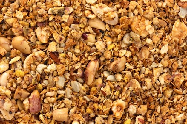 Granola con fondo de textura de nueces Foto Premium