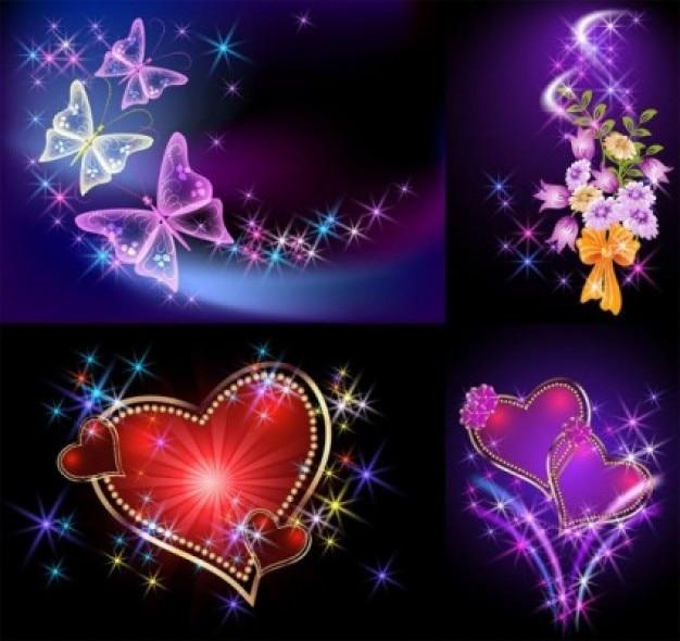 Gratis romántica luz de fondo vector corazón abstracto mariposa ...
