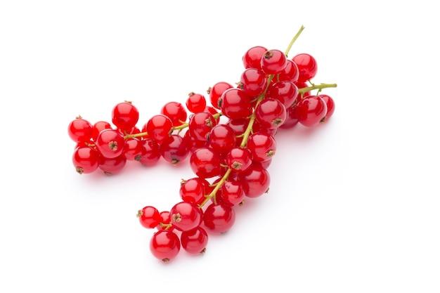 Grosellas rojas bodegón aislado en blanco Foto Premium