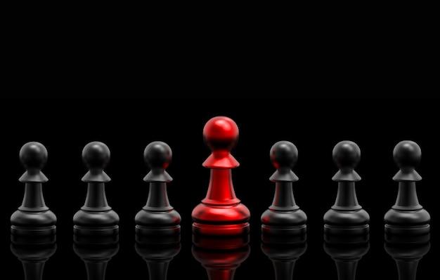 Un grupo de ajedrez rojo entre negros Foto Premium