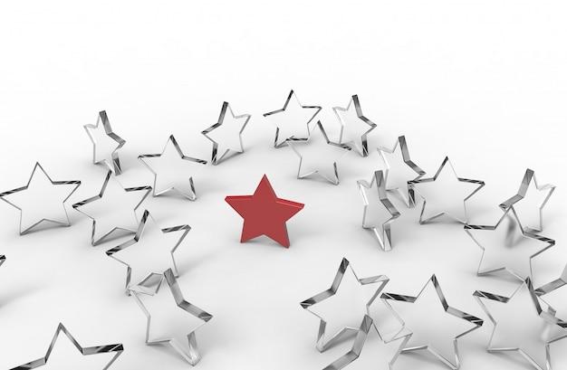 Grupo de estrellas aisladas en blanco Foto Premium