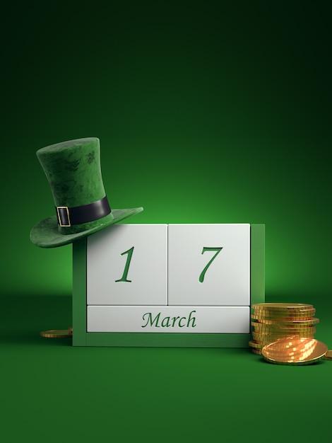 Guarde la fecha del calendario de bloques blancos para el día de san patricio, 17 de marzo, con sombrero de duende y olla de oro, en verde. Foto Premium