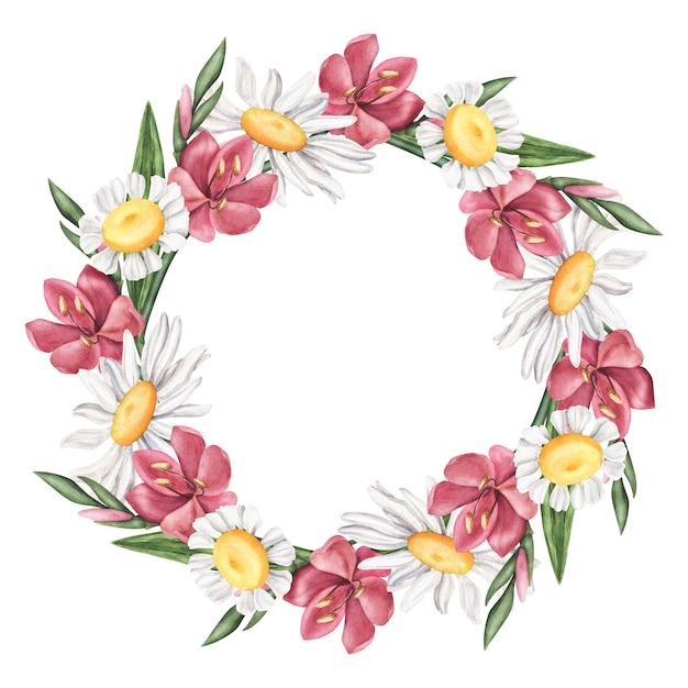 Guirnalda de flores de verano - margarita, lirio, marco de manzanilla Foto Premium