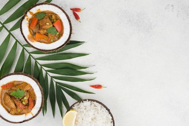 Guiso y arroz en platos de coco copia espacio Foto gratis