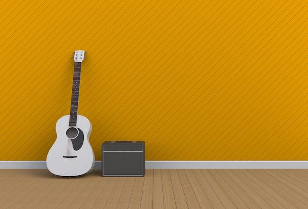 Guitarra acústica con amplificador de guitarra en una habitación amarilla, renderizado 3d Foto Premium