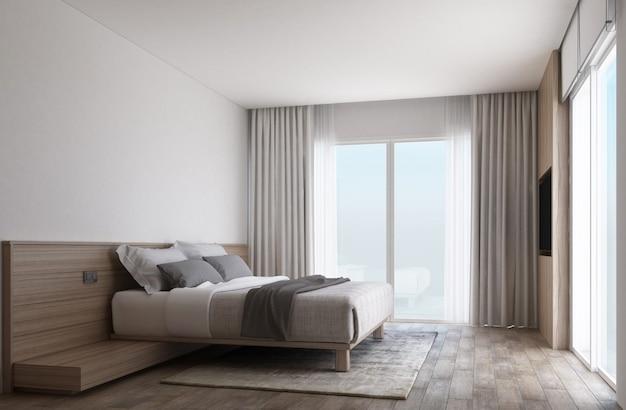 Habitación blanca con piso de madera y puertas correderas con cortinas. Foto Premium