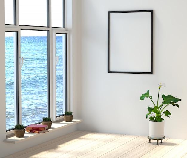 Habitación con grandes ventanales con vistas al mar. libros y flores en una habitación elegante y luminosa en la playa. Foto Premium