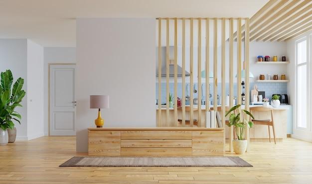 Habitación interior moderna con muebles, sala de televisión, comedor, la cocina, representación 3d Foto gratis