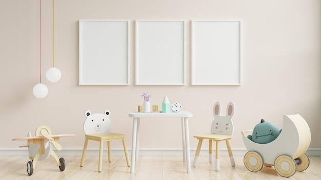 Habitación interior para niños, maqueta de marco de pared. Foto Premium