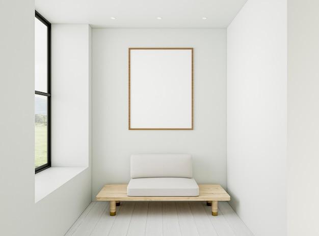 Habitación mínima 3d con marco elegante Foto gratis