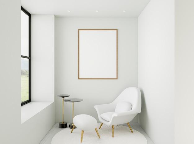 Habitación mínima 3d con marco elegante Foto Premium