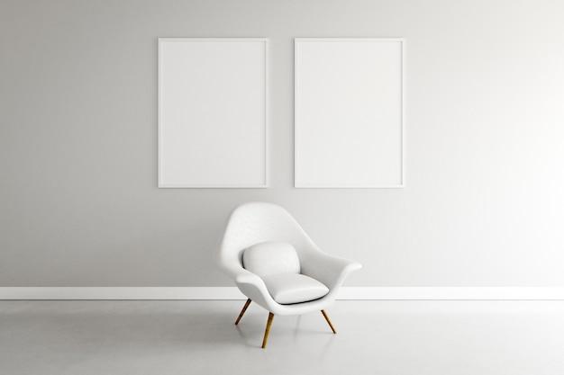 Habitación mínima con sillón y armazón. Foto Premium