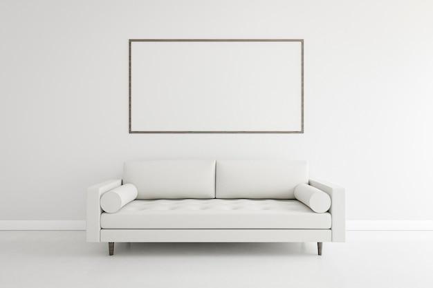 Habitación minimalista con elegante sofá y estructura. Foto gratis