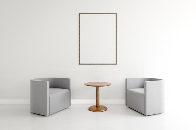 Habitación minimalista con sillones elegantes. Foto Premium