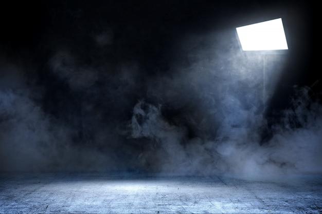 Habitación con piso de concreto y humo con luz de focos, fondo Foto Premium
